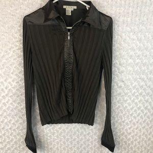 CAbi Ribbed Silk Full Zip Jacket